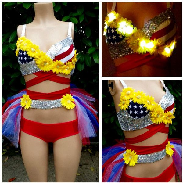 Red White Blue America Flower Led Rave Bra With Tutu & Booty Pants Edc... ($125) ❤ liked on Polyvore featuring intimates, bras, lingerie, women's clothing, yellow, strappy lingerie, red bra, yellow bra, yellow lingerie and red lingerie