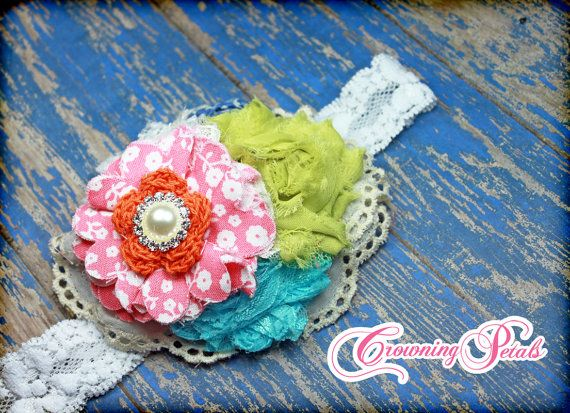 Coral Pink, Turquoise, Lime, Orange Hair Accessory, Vintage Hair Bow, Headband, Aqua Shabby Chic Flower Hair Accessories, Baby Hair Bows