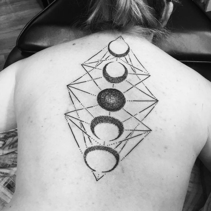 Dotwork Geometric Phases Of The Moon Tattoo On Girl Spine