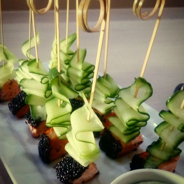 Canape - Black Sesame Seed Seared Salmon with Cucumber Ribbons and a Chili and Lime Yogurt Sauce