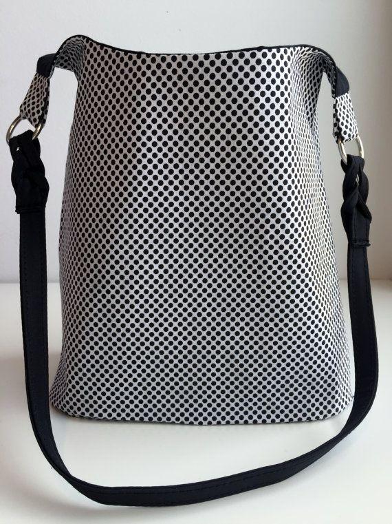 Black polka dot shoulder purse by ARPCreations on Etsy