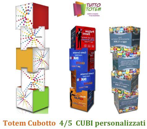 Totem in cartone composti da 4 o 5 cubi personalizzati in quadricromia su tutti i lati . Ad incastro per creare la tua colonna Totem pubblicitaria di grande effetto .
