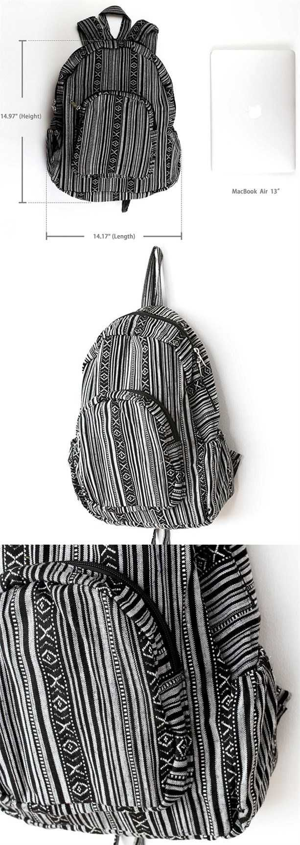 $24.99 Amazon+Free Shipping 3 day,striped backpack black and white canvase backpack schools cute travel backpack small