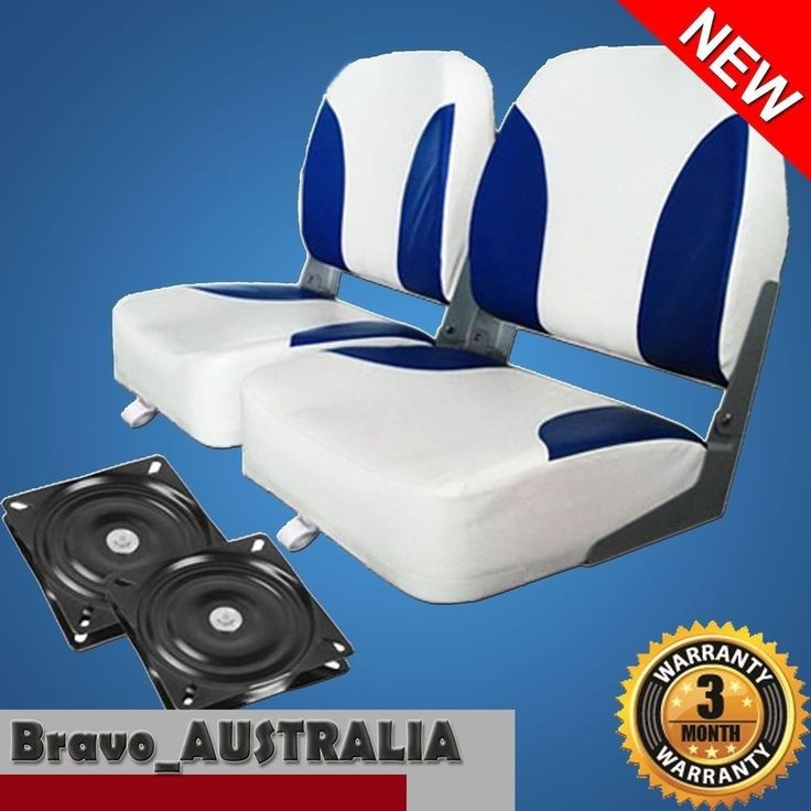 2 Premium Folding Boat Seats Marine All Weather White & Blue With Swivels