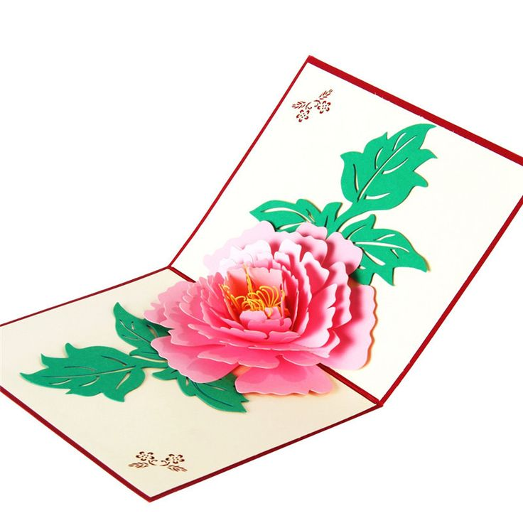3D Peony Card Greeting Origami postcard paper laser cut pop up handmade post cards festival Birthday  Wishes gift