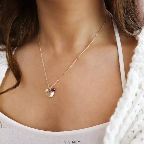 Multi Gemstone Engraved Disc Necklace