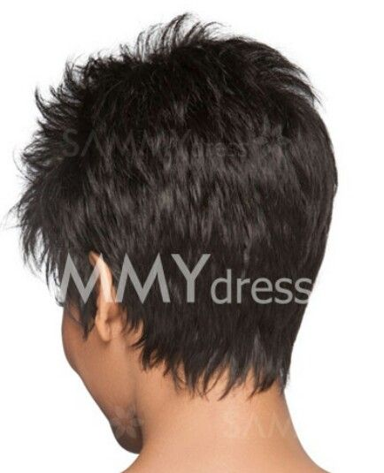 Love the way the back is cut on this short wispy hair style!
