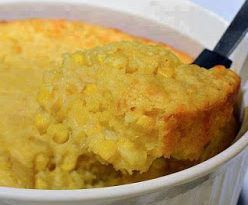 1 box Jiffy cornbread mix 1 can cream corn 1 can whole kernel corn drained 2 eggs 1 stick butter melted 1 Cup Sour cream Mix all together in casserole adding the sour cream last. Bake in 350 oven for 45 minutes