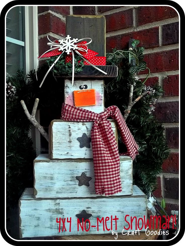 No Melt Snowman - mine turned out great!! Easy to make, I used scrap wood. He is just as cute with no arms too!