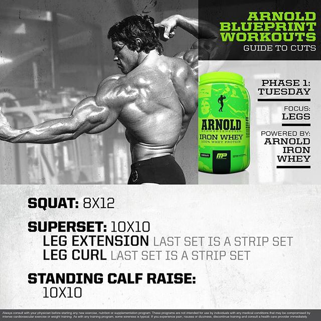 """#MP Workout of the Day! Arnold @schwarzenegger Blueprint to Cut Leg Workout! Powered by #IronWhey  Tag someone who needs a great leg workout!"" Photo taken by @musclepharm on Instagram, pinned via the InstaPin iOS App! http://www.instapinapp.com (08/18/2015)"