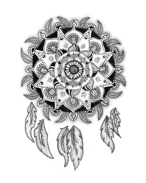 Mandala Dreamcatcher Nature Pattern Feathers Radial