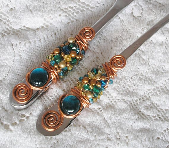 COPPER BEADED Wedding Cake Server and Knife by JuliesPracticalArt, $59.99