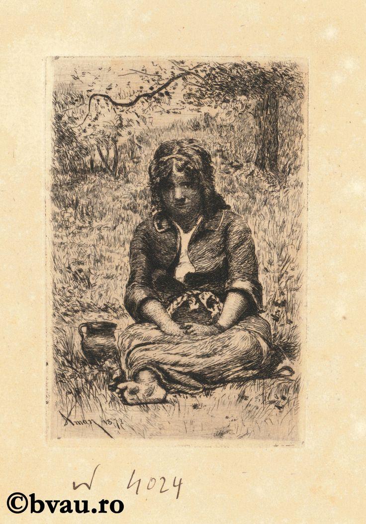 """Theodor Aman, O fată șezând pe iarbă. Imagine din colecțiile Bibliotecii """"V.A. Urechia"""" Galați."""