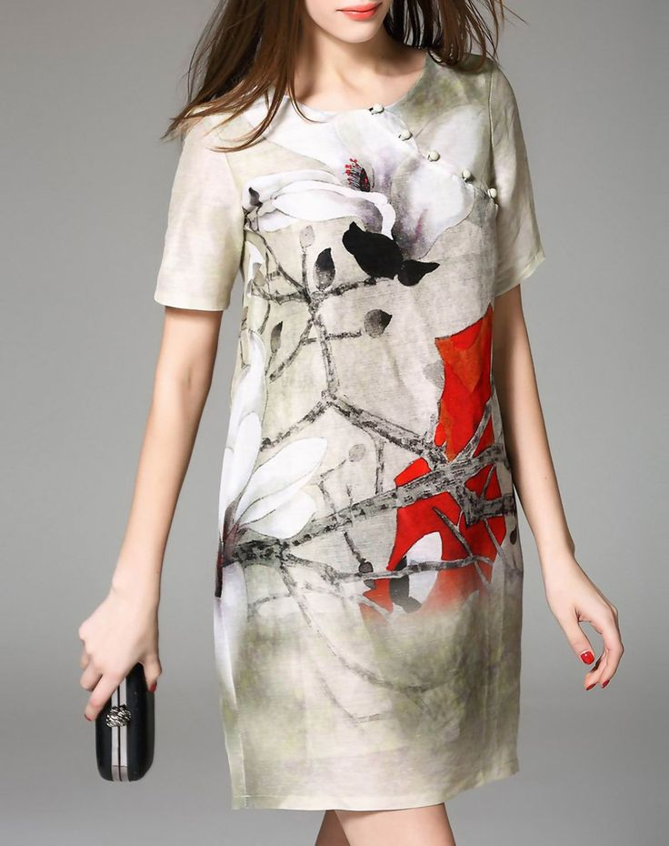 Short Sleeve Floral Print Silk Linen Mini Shift Dress, Apricot, YUJIA | VIPme