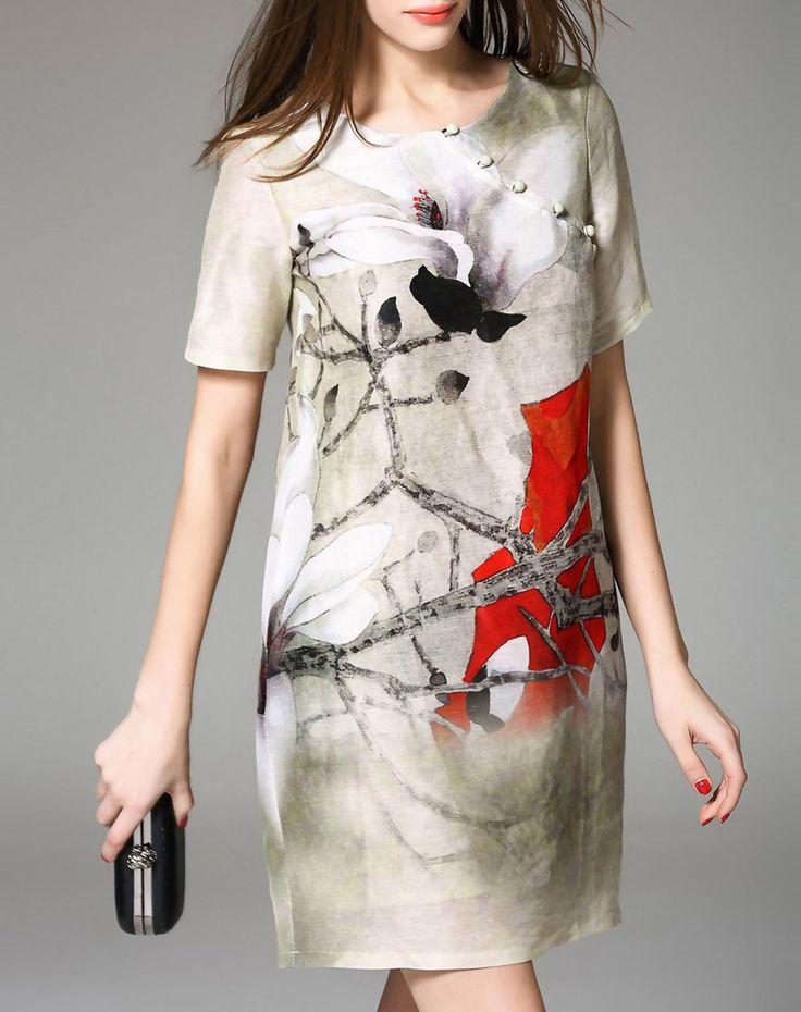 Short Sleeve Floral Print Silk Linen Mini Shift Dress, Apricot, YUJIA   VIPme