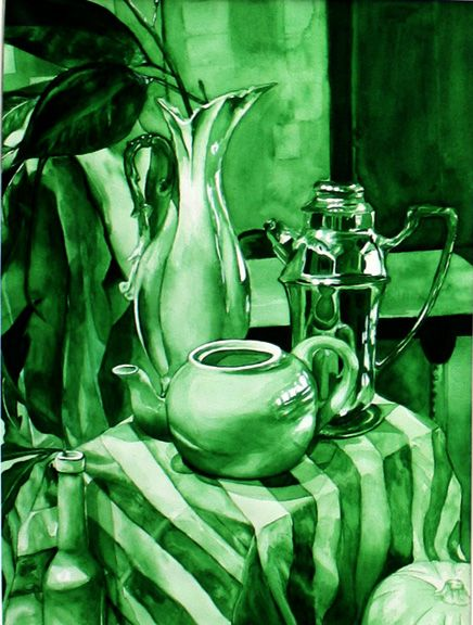 "Brittany Cartie Stripes and Ceramic Watercolor  18"" x 24"" The artist painted a still life using different shades of the same hue.  The piece skillfully displays the full range of value in viridian green."