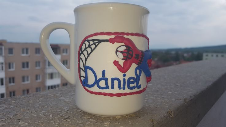 Heroes together - little one's name and Spiderman of FIMO, together on a mug. #FIMO #polimerclay #mug #spiderman #mugforkids
