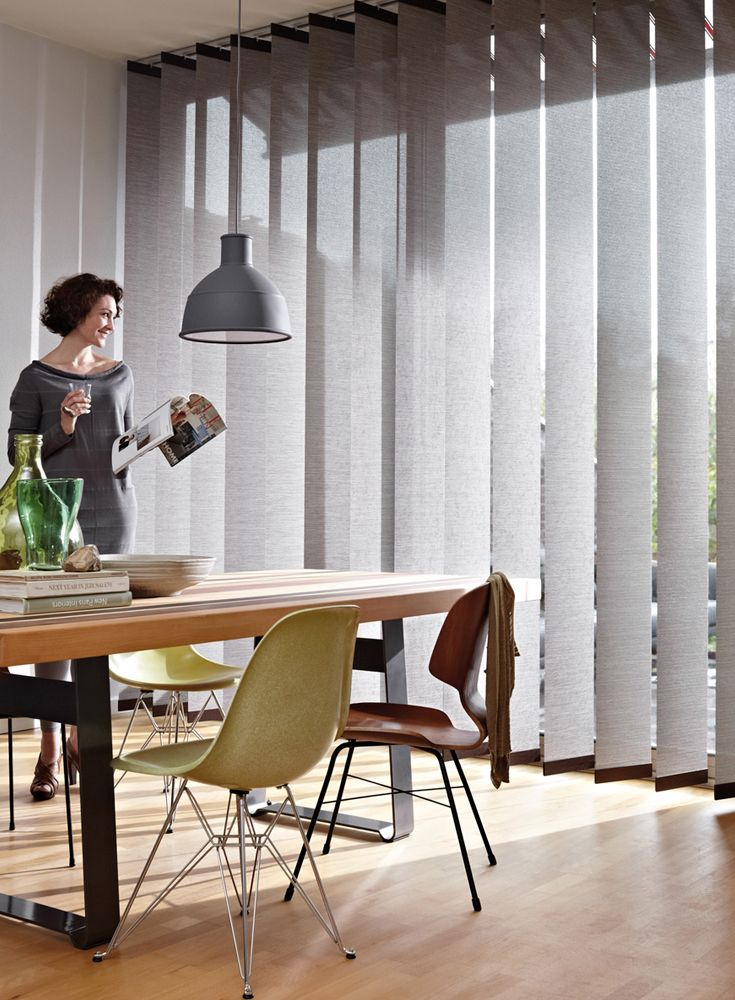 Vertical Blinds From Luxaflex Are The Perfect Blind For A Large Door Or Window They Re Also Perfec Curtains With Blinds Living Room Blinds Blinds For Windows