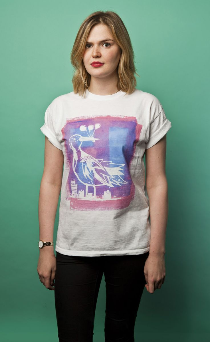 "Bespoke ""City Bird"" T-shirt. Available to purchase at www.luciadeluca.com"