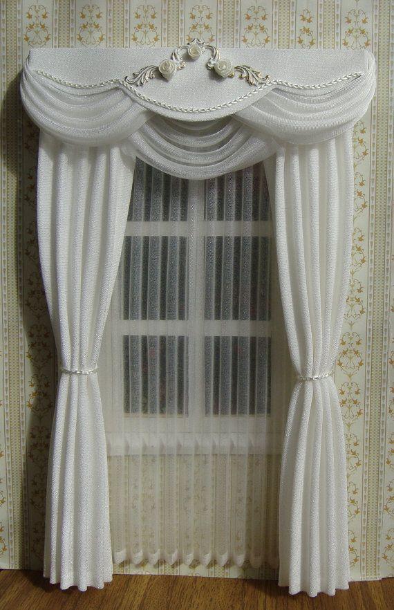Miniatura 1:12 cortinas de casa de muñecas a por TanyaShevtsova