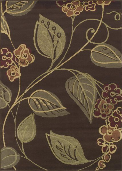 Dalyn Carlisle Chocolate Olive Red Sage Graphic Floral Vine Patterns On By Area Rug
