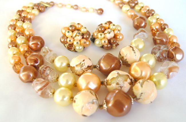 Japan Golden Crackle Art Glass Necklace Earring Set- Beautiful & Chunky!