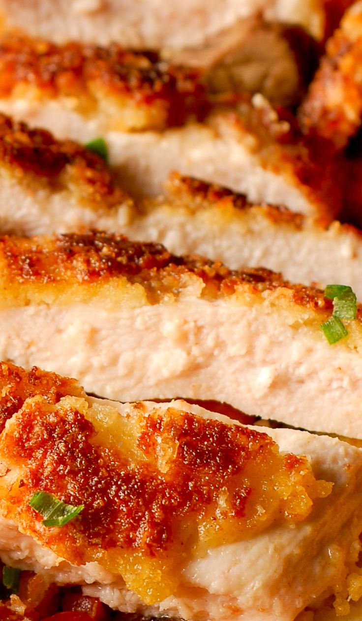 Parmesan Crusted Chicken, pan-fried chicken breast, skillet fried breaded chicken, perfect with pasta as a weeknight dinner or in chicken salads
