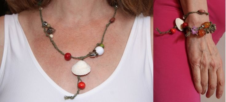Ibiza stijl gevlochten wikkel armband / halssnoer - Yasmin1 - Ibiza style braided bracelet / necklace