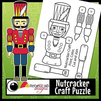 FREE Nutcracker Craft Puzzle is a fun craft for your classroom leading up to Christmas.  Simply print, color, cut and join or paste the pieces together to craft your own Nutcracker.  The finished product will measure approximately 14 inches tall.  This download contains 2 PowerPoint versions.Nutcracker Craft Puzzle by RebeccaB Designs.Copyright  2015 RebeccaB DesignsCLASSROOM OR PERSONAL USE ONLY:  YOU MAY print a hardcopy of individual items for single classroom use or personal use.