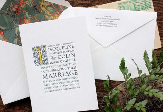 Vintage book  wedding invitation  SAMPLE  by echoletterpress