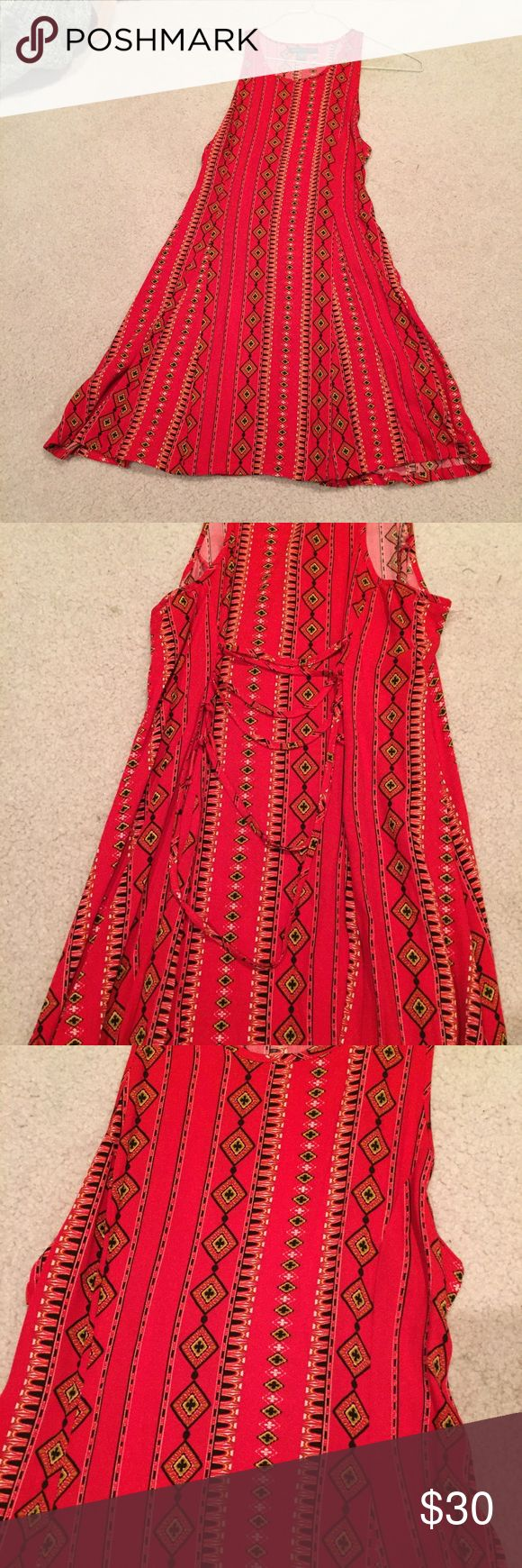 Kendall & Kylie dress Kendall & Kylie red patterns dress, laces up the back! Size small, never been worn. In perfect condition. Kendall & Kylie Dresses Mini