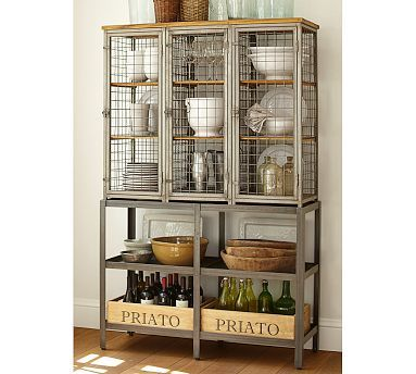 """Gridley Caged Storage Cabinet #potterybarn   Modeled on the caged lockers once used in factories and gymnasiums, this cabinet has a bold, industrial appeal.  49.25"""" wide x 17"""" deep x 77.25"""" high  Crafted with a steel frame, mahogany shelves and wire-mesh panels.  Three doors open to nine fixed shelves; doors lock with drop-down latches.  Includes four spacious bottom shelves.  $1400"""