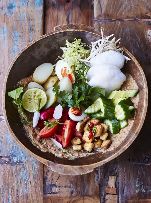 "Gorgeous Gado Gado - the Indonesian mega salad - particularly delightful with this recipe by JAMIE OLIVER ....""Tossed with the most incredible peanut dressing and served with crunchy prawn crackers, it's a winning combo"""