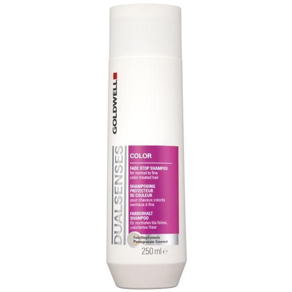 GOLDWELL DUALSENSES COLOR FADE SHAMPOO Voor Normaal tot Fijn Gekleurd Haar. De unieke FadeStopFormula met granaatappel-essence reduceert kleurverlies tot een minimum. Biedt direct gewichtloze verzorging.