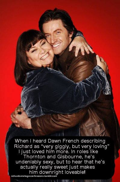 Dawn French with Richard Armitage (their Vicar of Dibley marriage episode one of the best ever laughs!)
