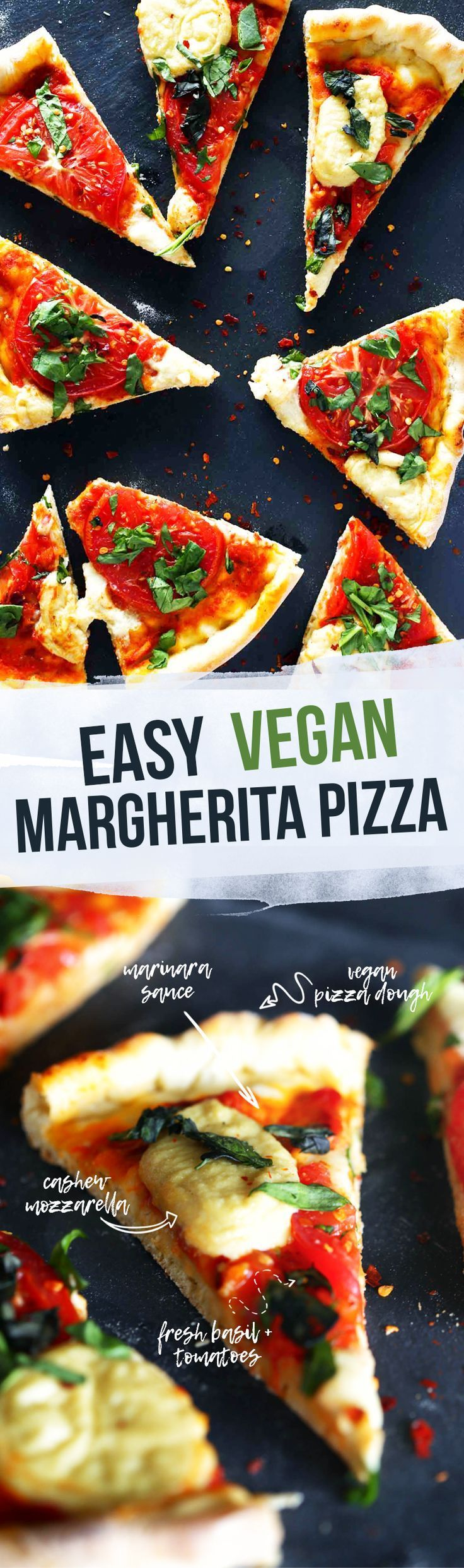 Healthy Vegan Pizza with Cashew Mozzarella - Delicious vegan pizza - margherita style. Made with homemade cashew mozzarella, marinara sauce, and vegan dough. Topped with fresh tomatoes and fresh basil.