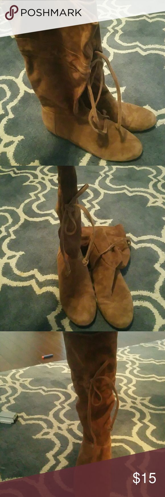 Nine west slouchy boots Size 8 slouchy brown suede boots tie right before the top help keep them up super cute on Nine West Shoes Ankle Boots & Booties