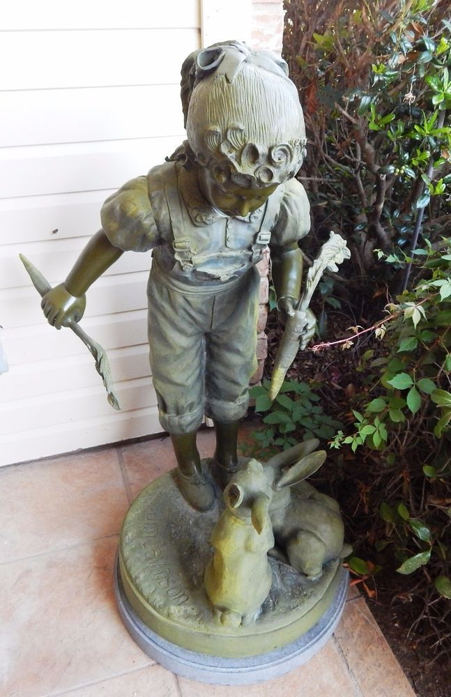 "Jim Davidson 40"" Huge Life Size Bronze Sculpture Girl w/ Bunnies Statue, Signed #JimDavidson"