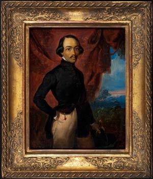 Self-portrait, Raden Saleh, 1841, oil painting