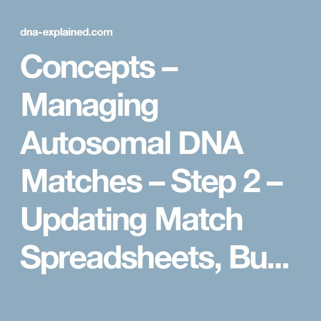 Concepts – Managing Autosomal DNA Matches – Step 2 – Updating Match Spreadsheets, Bucketed Family Finder Matches andPileups