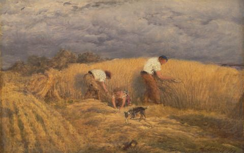 John Linnell, 1792–1882, British, A Finished Study for 'Reaping', 1858, Oil on panel, Yale Center for British Art, Paul Mellon Collection