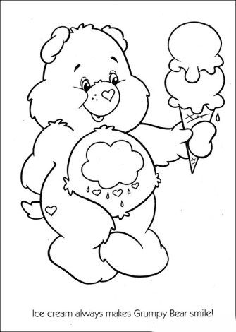 Care Bears Coloring Pages With Ice Cream Coloring Pages Bear