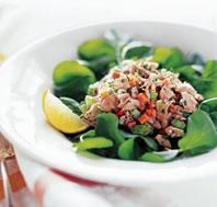 Wild Salmon Salad  Mindful Moment  Treat your kitchen as a sanctuary. Before preparing a meal, light a candle and take several deep breaths to clear your mind and center your body. Because this salad is so easy to prepare, pause to engage with each stage of the process--from opening the can of salmon to chopping the herbs--as if it were an extended meditation. To stay present, slow or exaggerate your movements.