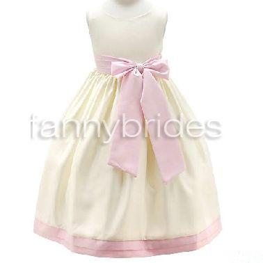 Taffeta Bateau Ruched Bottom Flower Girl Dress Pink