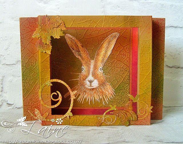 Dream Laine: Diorama Hare!  #crafterscompanion #spectrumnoir #hare #wildlife #pencil #watercolor #autumn