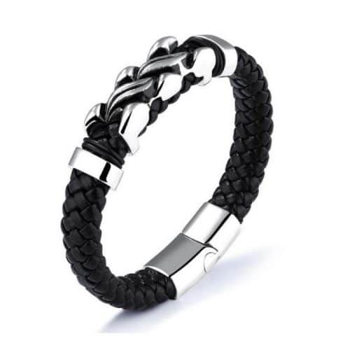 Leather and Stainless steel bracelet by Six Continent Nomad of Sweden