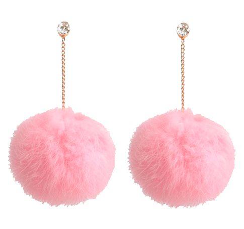 Fur fluffy pom pom earrings