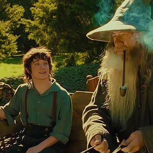 "Bilbo, a lifelong bachelor, adopted Frodo, the orphaned son of his first cousin Primula Brandybuck and his second cousin Drogo Baggins, and made him his heir. Though Frodo was actually ""his first and second cousin once removed either way"", the two regarded each other as uncle and nephew...    Gandalf visits the Shire to celebrate with his old friend Bilbo who is throwing a party for his 111th birthday...On the road in,  he is joined by an excited, young Frodo Baggins."