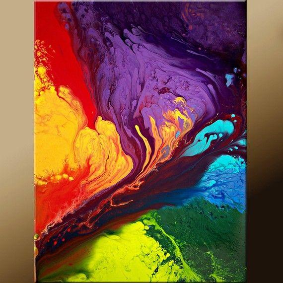 11x14 Abstract Fine Art Print - Contemporary Modern  Art  by Destiny Womack - Beyond the Rainbow  - dWo