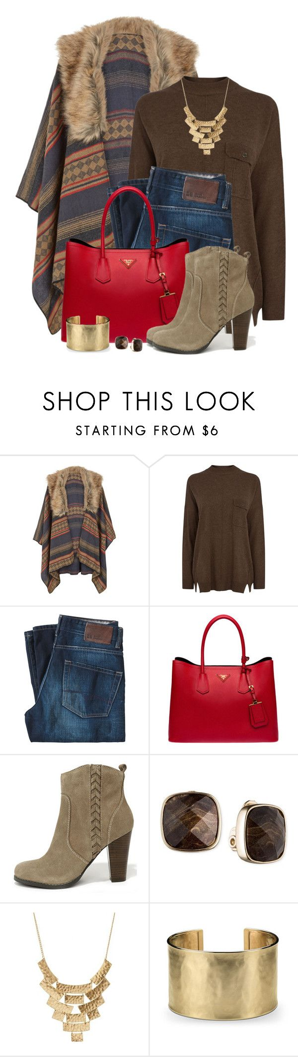 """""""Faux Fur Trim Poncho and Ankle Boots"""" by brendariley-1 ❤ liked on Polyvore featuring Accessorize, Warehouse, BOSS Orange, Prada, Very Volatile, Anne Klein, Charlotte Russe and Blue Nile"""